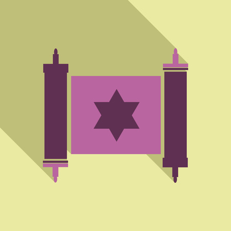 Torah scroll icon in flat style. Jewish Torah in expanded form. Flat illustration Torah Book, Jewish Torah, law Books. Simple old parchment scroll with the text. Symbol old scroll. Star of David