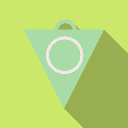 Pennant with circle on plain background.