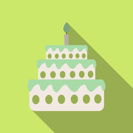 Cake with one candle on plain background.