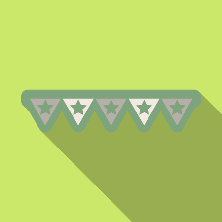 Ribbon with triangles on plain background.