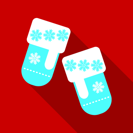 vector vector illustration pair of knitted christmas mittens on blue background mitten icon christmas greeting card with mittens - Christmas Mittens