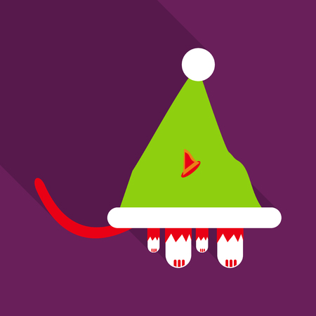 cat in the hat of Santa Claus. Vector icon