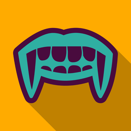 Flat icon with shadow vampire teeth. Illustration
