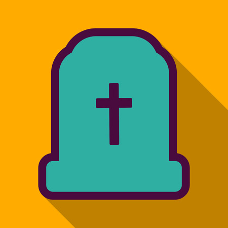 Flat icon with shadow grave.