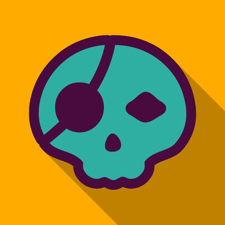 Flat icon with shadow pirate skull.