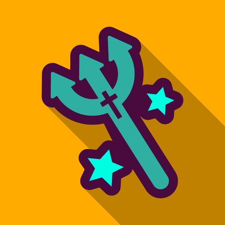 Flat icon with shadow fork of the demon.