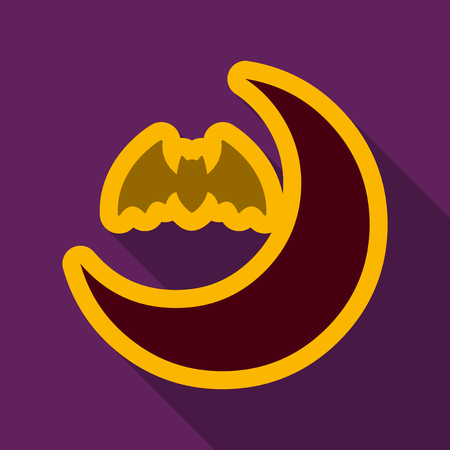 Flat icon with shadow moon and bat.