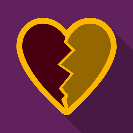 Flat icon with shadow broken heart.