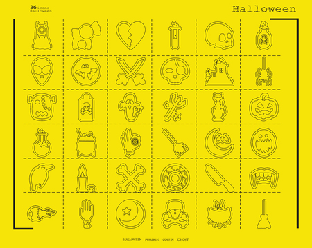 Collection of 36 Halloween icons. Vector illustration in thin line style.
