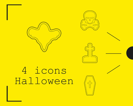 Collection of 4 Halloween icons. Vector illustration in thin line style. Иллюстрация