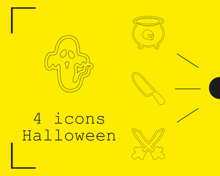Collection of 4 Halloween icons. Vector illustration in thin line style. Illustration
