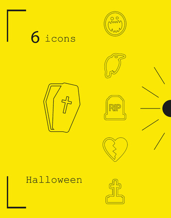 Collection of 6 Halloween icons. Vector illustration in thin line style.