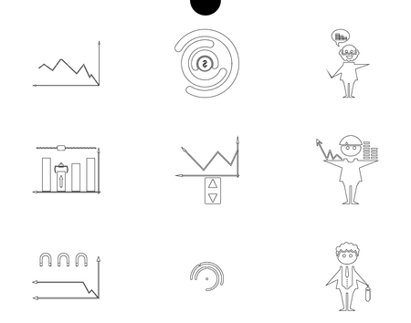 Outline web icon set money, finance, payments with humans silhouette in black white.