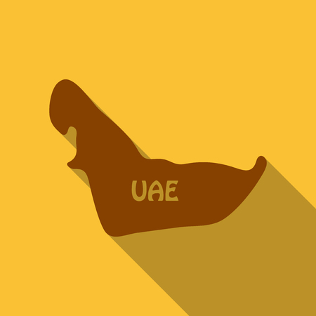 UAE map in flat style with shadow Ilustrace