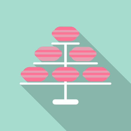 Set of different taste french macaroons,collection of variation colorful french macaroons, vector art image illustration, isolated on background.