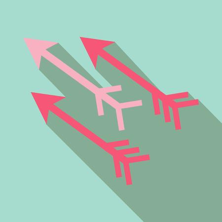three-way direction arrow vector icon.