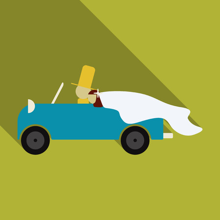 Newlywed couple is driving a vintage convertible car for their honeymoon with just married sign and cans attached. Flat style vector illustration isolated on white background. Illustration