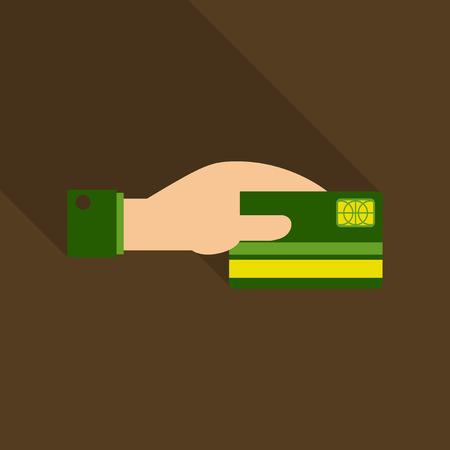 Business man hand holding credit card in vector format illustration. Illustration