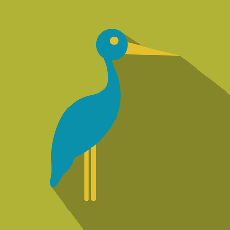Stork cartoon in flat style with shadow illustration.