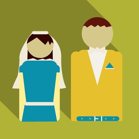 colorful caricature newly married couple bearded groom with formal wear and bride with straight medium hairstyle vector illustration