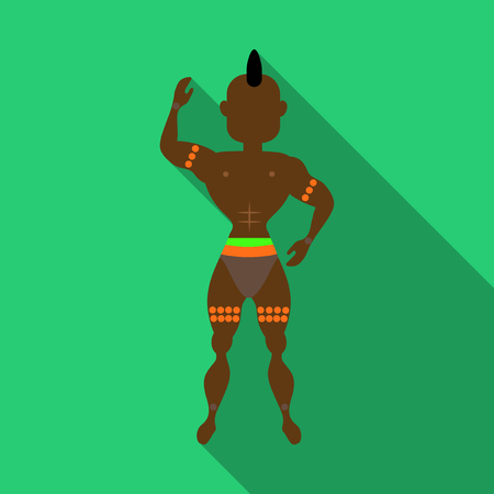 Brazilian samba dancers. Vector carnival mens wearing a festival costume is dancing. Illustration