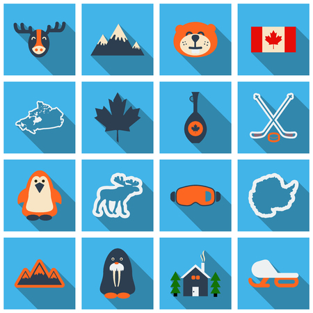 Set of winter icons different objects sport equipment and animals illustration.