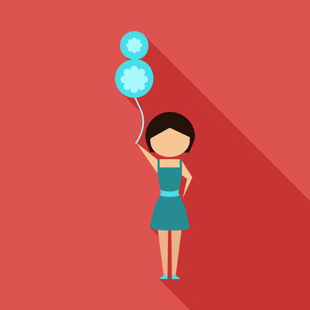 Vector illustration cartoon mother with present. Isolated white background. Flat design. The woman and 8 march Balloon. 8 march