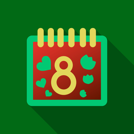 March 8. Calendar icon.Vector illustration,flat style.Date,day of month:Sunday,Monday,Tuesday,Wednesday,Thursday,Friday,Saturday.Weekend,red letter day.Calendar for 2017 year.Holidays in March. Illustration