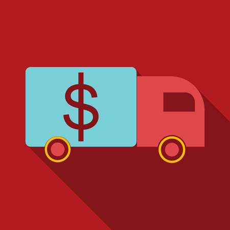 Cash Delivery Car vector icon. Designed for web and software interfaces. Illustration
