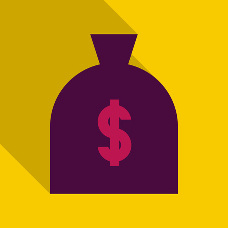 Big money bag with gold coins. Vector illustration with shadow