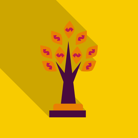 money tree in flat style with shadow. Illustration