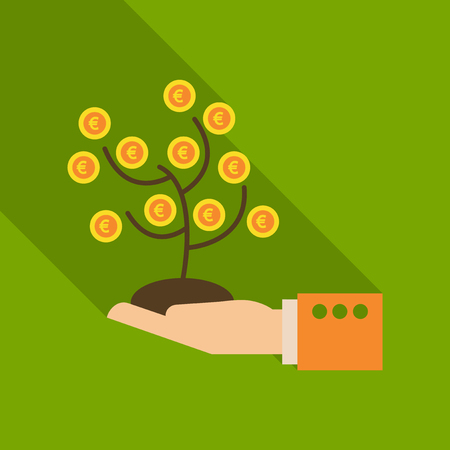 Money tree in flat style with shadow.