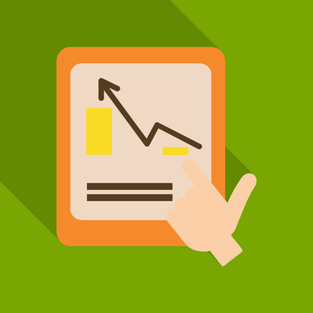Monitors and hand in abstract concept with information analytics in flat style with shadow. Illustration