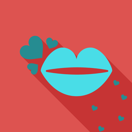Lips with hearts Vector illustration. Illustration