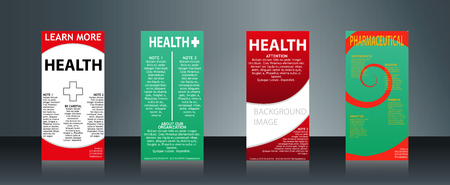 Mega collection of 4 abstract medical business cards or visiting cards on different topic, arrange in horizontal. Vectores