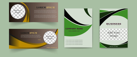 Set of abstract vector modern flyers and brochures. Business brochure flyer design layout template in A4 circles