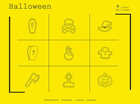 Collection of 9 halloween icons. Vector illustration in thin line style.