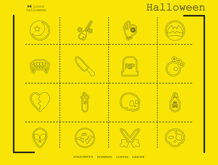Collection of 16 halloween icons. Vector illustration in thin line style