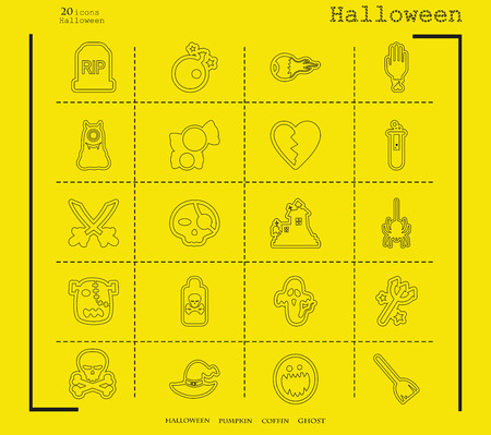 Collection of 20 Halloween icons. Vector illustration in thin line style