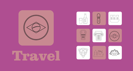 Travel Line Icons for Web and Mobile. Thin line icons  on purple