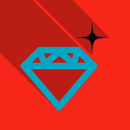 Diamond vector icon in flat style with shadow