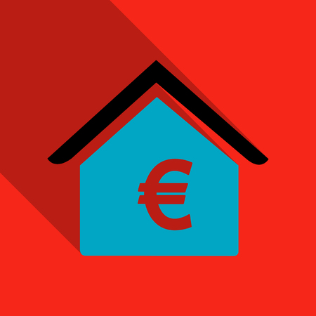 Home icon with Euro label in flat style with shadow Illustration