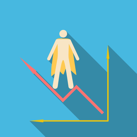 Man stand on schedule chart on table vector. Economic visualization information, business report graph illustration