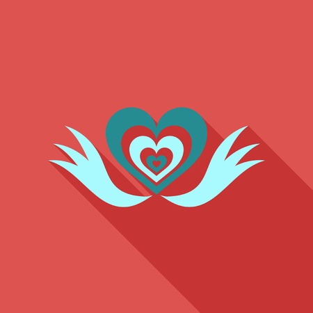 Heart with ribbon Vector illustration.
