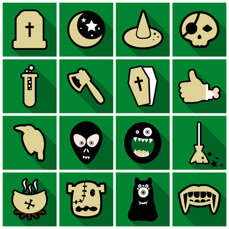 Set of Flat Icons with shadow Happy Halloween design elements Stock Illustratie