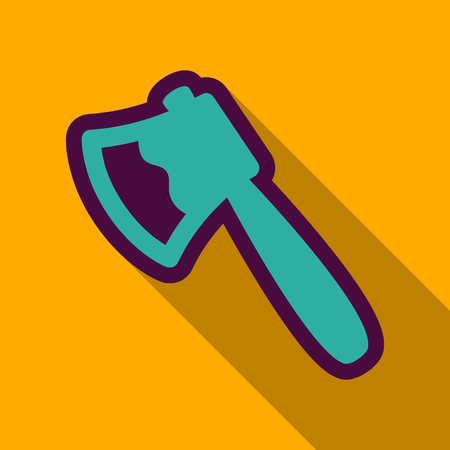 Flat icon with shadow ax . Element for woodworking or lumberjack emblem or icon.