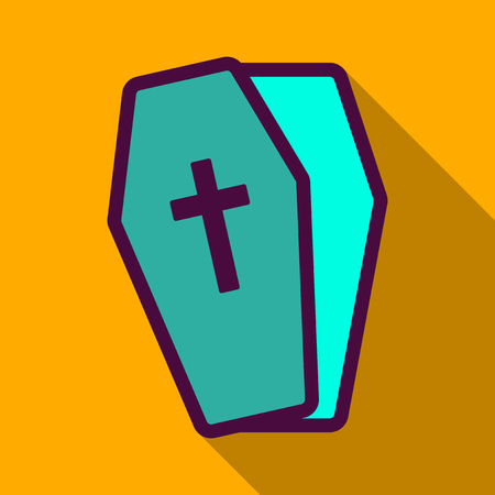 Flat icon with shadow coffin