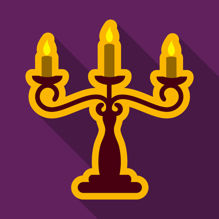Flat icon with shadow candlestick Illustration