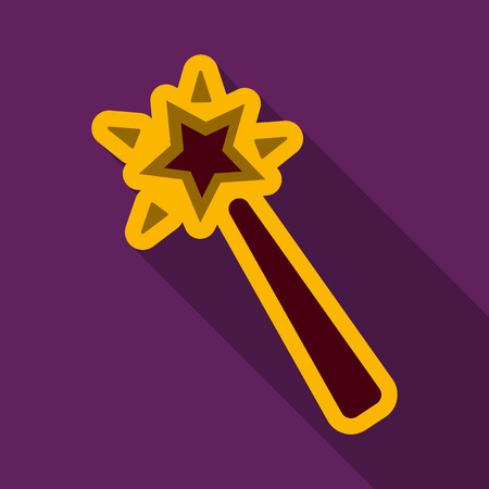 Flat icon with shadow Magic wand