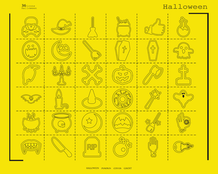 Collection of 36 halloween icons. Vector illustration in thin line style Illustration